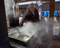 Transfering maple sap in the old concentrator. Image taken with a Leica TL camera and 18-56 mm zoom lens