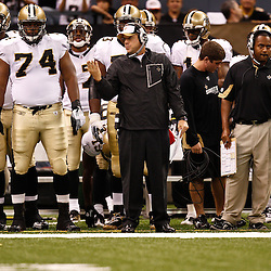 August 27, 2010; New Orleans, LA, USA; New Orleans Saints head coach Sean Payton watches from the sideline during the first half of a preseason game at the Louisiana Superdome. The New Orleans Saints defeated the San Diego Chargers 36-21. Mandatory Credit: Derick E. Hingle