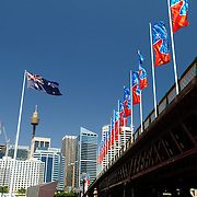 Pyrmont Bridge, a pedestrian bridge at Darling Harbour spanning Cockle Bay
