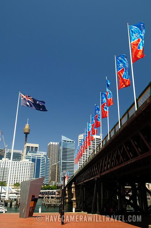 Pyrmont Bridge, a pedestrian bridge at Darling Harbour spanning Cockle Bay