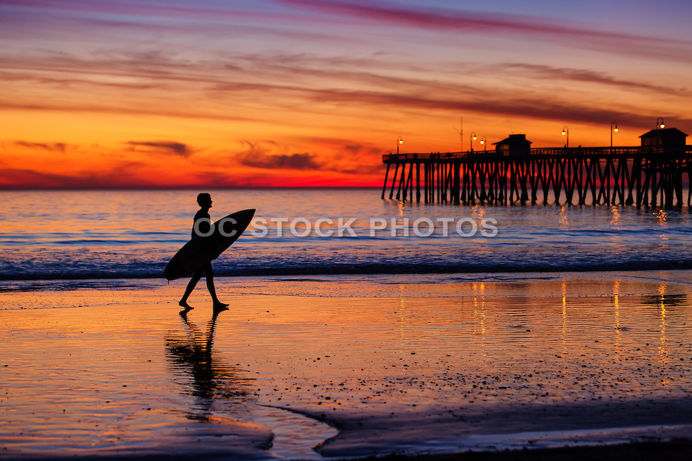 Silhouette of a Surfer at Sunset in San Clemente