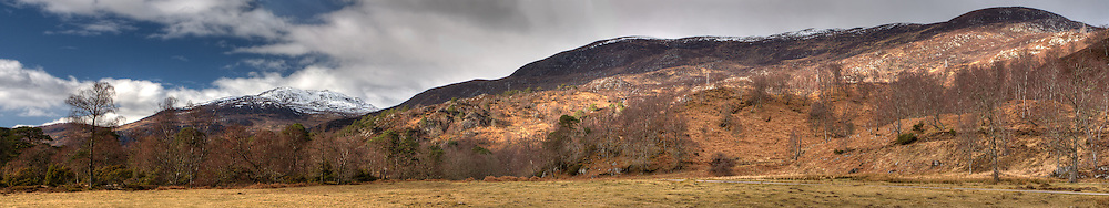 Panorama of the lower reaches of Glen Strathfarrar in the Scottish Highlands. The panorama was created from four separate photos. HDR was used to bring out the cloud detail.