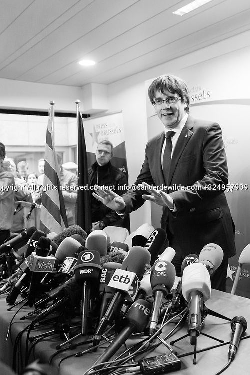 """Brussels Belgium 2017 Oktober 31 Catalonia's ousted president, Carles Puigdemont, said during a crowded press conference at the Brussels Press Centre to act """"in freedom and safety"""", but not to seek political asylum."""