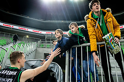 Miha Lapornik of Petrol Olimpija with fans after the basketball match between KK Petrol Olimpija and KK Igokea in Round #19 of ABA League 2018/19, on February 11, 2019 in Arena Stozice, Ljubljana, Slovenia. Photo by Vid Ponikvar / Sportida