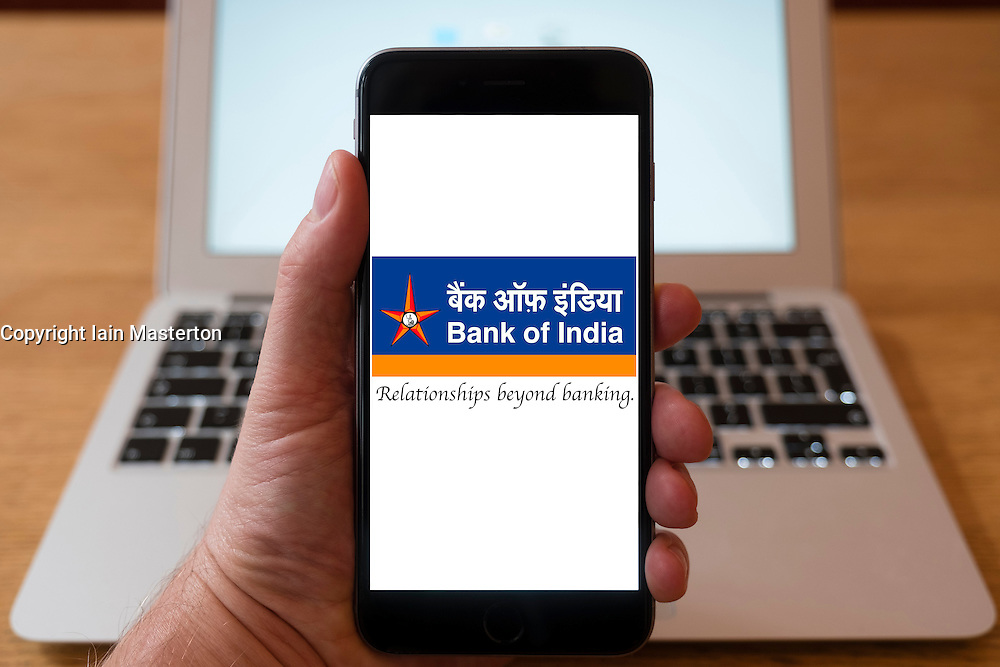Using iPhone smartphone to display logo of the Bank of India