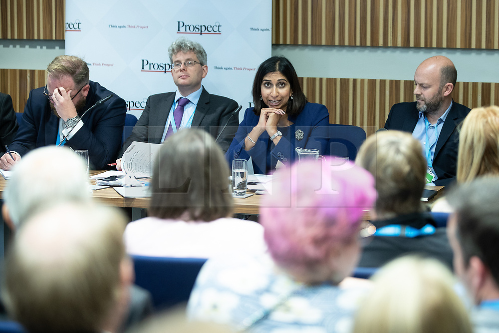 """© Licensed to London News Pictures . 01/10/2018. Birmingham, UK. David Leighton of ABPorts , Tom Clark of Prospect , Suella Braverman MP Parliamentary Under Secretary of State for the Department for Exiting the EU and Josh Hardie of the CBI . Prospect magazine fringe event titled """" Beyond tariffs where are our opportunities to boost trade post-Brexit """" , supported by Associated British Ports . Day 2 of the Conservative Party conference at the ICC in Birmingham . Photo credit: Joel Goodman/LNP"""