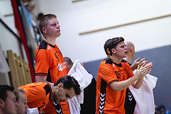 Bench of Nederland cheering on their players during friendly handball match between Slovenia and Nederland, on October 25, 2019 in Športna dvorana Hardek, Ormož, Slovenia. Photo by Blaž Weindorfer / Sportida