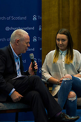 Pictured: Martin Johnstone, Secretary of the Church and Society Council interviewed Kourney McMurray (from East End of Glasgow)<br /> <br /> The People Politics Hustings,  organised by the Church of Scotland, allowed voters to question SNP deputy John Swinney, Scottish Labour leader Kezia Dugdale, Scottish Liberal Democrat leader Willie Rennie, Scottish Greens co-convener Patrick Harvie and former Scottish Conservatives leader Annabel Goldie ahead of the Scottish Elections. Before the politicians had a chance to speak they had a chance to listen to five speakers with different viewpoints on how Scotland has supported them in the past and how it should support them in the future..<br /> Ger Harley | EEm 4 April 2016