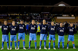 Players of San Marino listening to the national anthem at the last 2010 FIFA World Cup South Africa Qualifying match in Group 3 between San Marino and Slovenia, on October 14, 2009, in Olimpico Stadium, Serravalle, San Marino. Slovenia won 3:0. (Photo by Vid Ponikvar / Sportida)