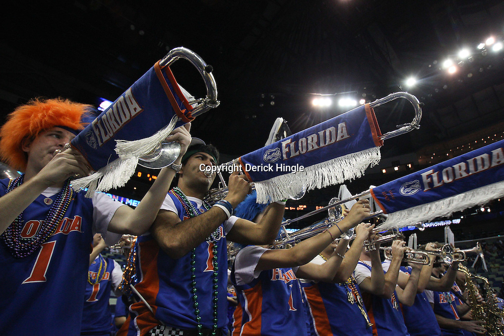 Mar 26, 2011; New Orleans, LA; The Florida Gators band performs before tip of the semifinals of the southeast regional of the 2011 NCAA men's basketball tournament against the Butler Bulldogs at New Orleans Arena.   Mandatory Credit: Derick E. Hingle
