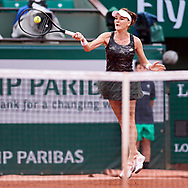 Paris, France - 2017 June 03: Agnieszka Radwanska from Poland plays a forehand during her women's single match third round  during tennis Grand Slam tournament The French Open 2017 (also called Roland Garros) at Stade Roland Garros on June 03, 2017 in Paris, France.<br /> <br /> Mandatory credit:<br /> Photo by © Adam Nurkiewicz<br /> <br /> Adam Nurkiewicz declares that he has no rights to the image of people at the photographs of his authorship.<br /> <br /> Picture also available in RAW (NEF) or TIFF format on special request.<br /> <br /> Any editorial, commercial or promotional use requires written permission from the author of image.