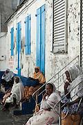 Mauritius. Muslim women in the city of Port Louis.
