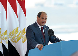 06.08.2014, Sueskanal, EGY, Sueskanal Kanal Erweiterung, im Bild Feierlichkieiten zur Sueskanal Erweiterung // Egyptian President Abdel Fattah al-Sisi gives a speech during the inauguration ceremony of the new Suez Canal, in Ismailia, Egypt, August 6, 2015. Egypt staged a show of international support on Thursday as it inaugurated a major extension of the Suez Canal which President Abdel Fattah al-Sisi hopes will power an economic turnaround in the Arab world's most populous country. Photo by Stringer, Egypt on 2014/08/06. EXPA Pictures © 2015, PhotoCredit: EXPA/ APAimages/ Stringer<br /> <br /> *****ATTENTION - for AUT, GER, SUI, ITA, POL, CRO, SRB only*****