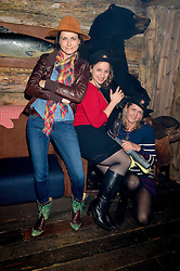 Left to right, sisters CLEMMIE WINKLER, EMMA WINKLER and CARRIE WINKLER at a party to celebrate the opening of Beaver Lodge, a new bar & club from the Inception Group at 266 Fulham Road, London SW10 on 4th December 2014.