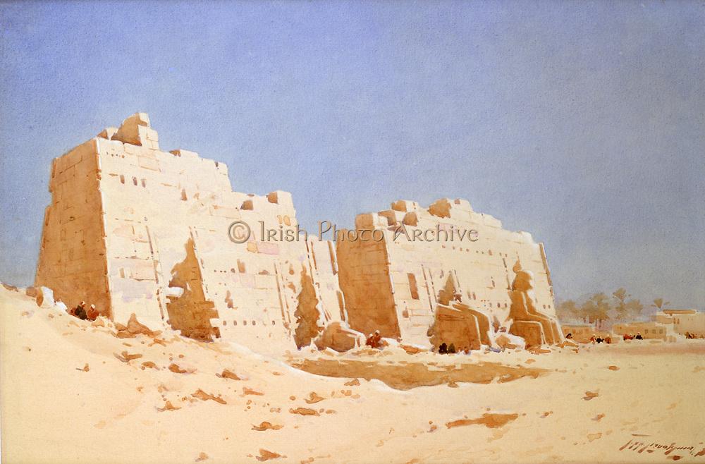 The Eighth Pylon, Karnak, Thebes', c1911.  Watercolour over pencil.  Augustus Osborne Lamplough (1877-1930), British artist. Egypt Ancient Egyptian Archaeology Ruins