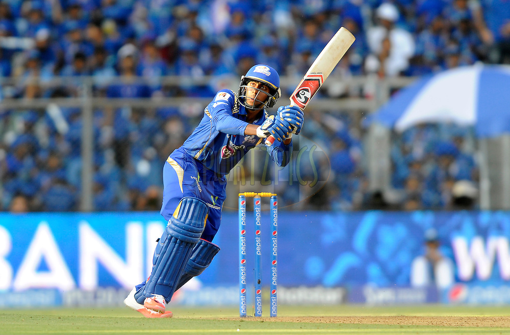 J Suchith of Mumbai Indians bats during match 23 of the Pepsi IPL 2015 (Indian Premier League) between The Mumbai Indians and The Sunrisers Hyferabad held at the Wankhede Stadium in Mumbai India on the 25th April 2015.<br /> <br /> Photo by:  Pal Pillai / SPORTZPICS / IPL