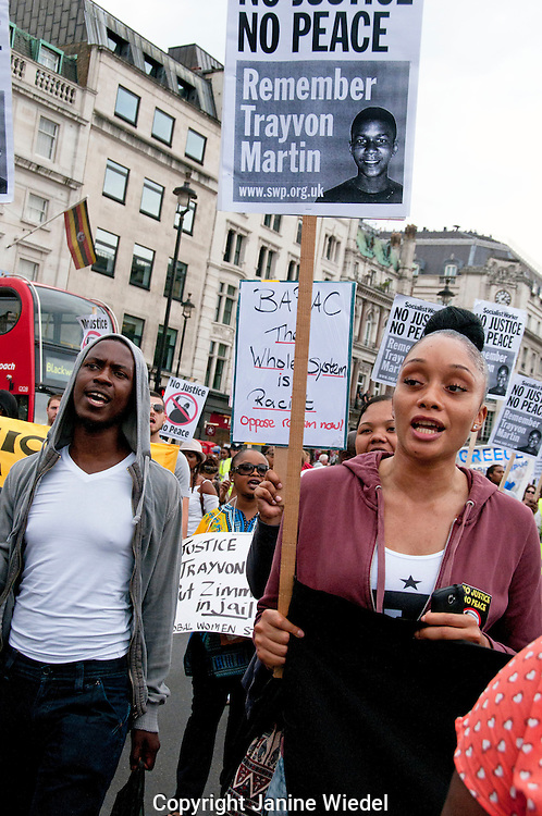 London March and Rally against Global Racism and Injustice following acquittal of George Zimmerman who shot & killed Trayvon Martin.