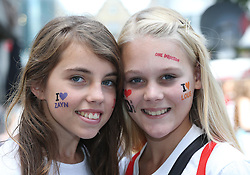 One Direction fans Holly Owen and Lyanda Wheeler  queueing in Leicester Square in London for the world premiere of the bands film One Direction: This Is Us,Tuesday, 20th August 2013. Picture by Stephen Lock / i-Images