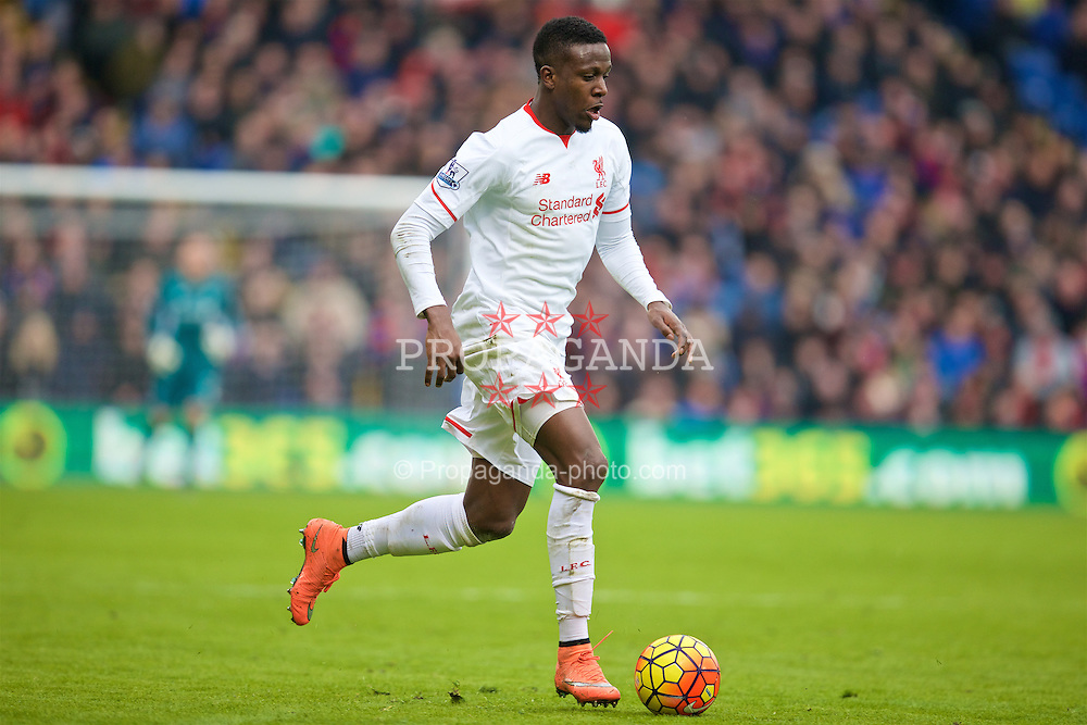 LONDON, ENGLAND - Sunday, March 6, 2016: Liverpool's Divock Origi in action against Crystal Palace during the Premier League match at Selhurst Park. (Pic by David Rawcliffe/Propaganda)