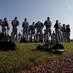 February 20, 2011; Port Charlotte, FL, USA; Tampa Bay Rays pitchers gather prior to the start of a spring training practice at Charlotte Sports Park.  Mandatory Credit: Derick E. Hingle