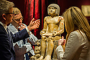 Christies London unveils Open House 2014. A collection of over 100 'masterpieces' chosen by quality and not necessarily price. They will be offered for sale over the summer season of auctions and will be on display for free to the public until 17th June. Works include: An Egyptian painted limestone statue, 'Sekhemka', circa 2450-2300 (estimate: £4-6 million) pictured. one of the stars in a free, five-day curated exhibition. Christies, King St, London.