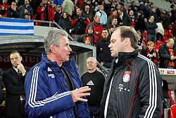 20.11.2010,  BayArena, Leverkusen, GER, 1. FBL, Bayer Leverkusen vs FC Bayern Muenchen, 13. Spieltag, im Bild: Jupp Heynckes (Trainer Leverkusen) (links) und Christian Nerlinger (Manager Muenchen) (rechts)  EXPA Pictures © 2010, PhotoCredit: EXPA/ nph/  Mueller****** out ouf GER ******