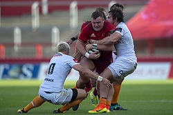 September 1, 2018 - Limerick, Ireland - Dave Kilcoyne of Munster tackled by Nico Lee and Tian Schoeman of Cheetahs during the Guinness PRO14 rugby match between Munster Rugby and Toyota Cheetahs at Thomond Park Stadium in Limerick, Ireland on September 1, 2018  (Credit Image: © Andrew Surma/NurPhoto/ZUMA Press)