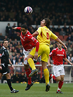 Photo: Steve Bond/Richard Lane Photography. <br />Nottingham Forest v Walsall. Coca Cola League One. 15/03/2008. Lewis McGugan (L) and Ian Roper (R) Challange for the ball