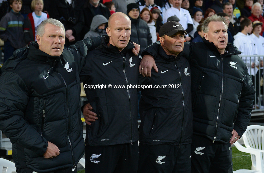 L_R Ricki Herbert, Neil Emblen, Clint Gosling and Brian Turner. New Zealand All Whites v Tahiti. FIFA World Cup Qualifier Football match at AMI Stadium. Christchurch, New Zealand. Tuesday 16 October 2012. Photo: Andrew Cornaga/photosport.co.nz