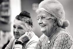 Portrait of two elderly women, Edwards Lane Community Centre, Nottingham, UK 1989