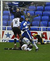 Photo: Jo Caird<br /> Reading v Derby<br /> Madejski Stadium<br /> Nationwide Div 1 2004<br /> 31/01/2004.<br /> <br /> Shaun Goater scores again
