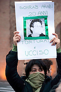 Roma 11 Febbraio 2010.Manifestazione di studenti iraniani contro il regime in Iran.Studenti iraniani manifestano a Roma contro il governo iraniano nel giorno dell'anniversario della Repubblica Islamica di Iran.Rome, February 11, 2010.Student demonstration against the Iranian regime.Iranian students demonstrate in Rome against the Iranian government on the anniversary of the Islamic Republic of Iran.