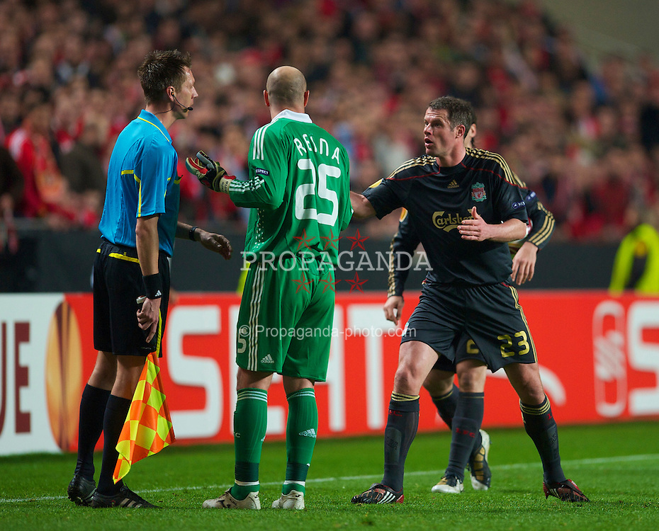 LISBON, PORTUGAL - Thursday, April 1, 2010: Liverpool's goalkeeper Pepe Reina and Jamie Carragher complain to the assistant referee after Ryan Babel was sent off against Sport Lisboa e Benfica during the UEFA Europa League Quarter-Final 1st Leg match at the Estadio da Luz. (Pic by David Rawcliffe/Propaganda)
