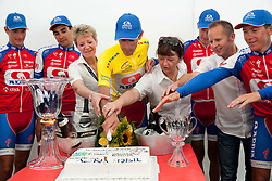 Best team KK Adria Mobil celebrate with cake after the Stage 4 from Brezice to Novo mesto (155,8 km) of cycling race 20th Tour de Slovenie 2013,  on June 16, 2013 in Slovenia. (Photo By Vid Ponikvar / Sportida)