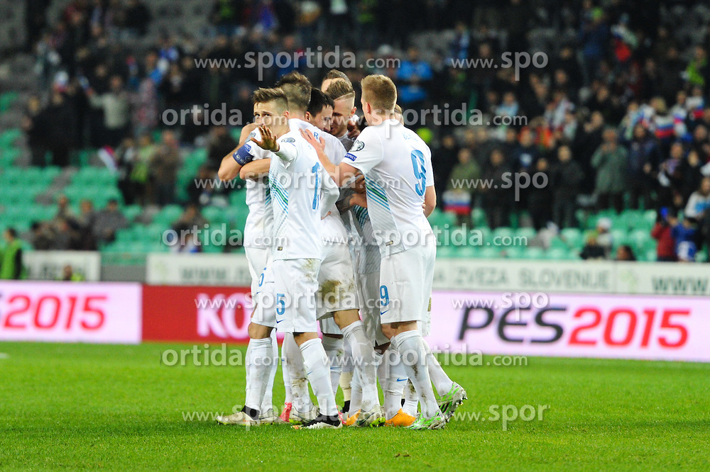 Struna Andraz of Slovenia celebrate after third goal of Slovenia during football match between NationalTeams of Slovenia and San Marino in Round 5 of EURO 2016 Qualifications, on March 27, 2015 in SRC Stozice, Ljubljana, Slovenia. Photo by Mario Horvat / Sportida