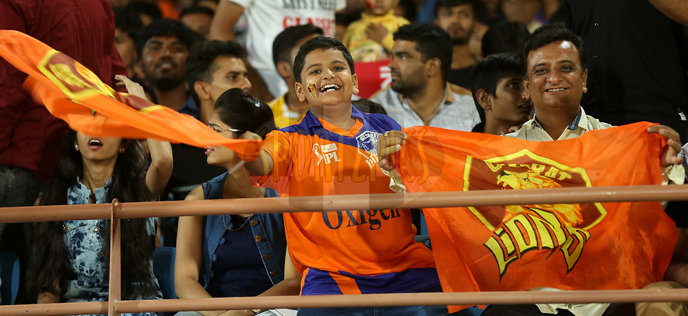 Fans enjoy during match 20 of the Vivo 2017 Indian Premier League between the Gujarat Lions and the Royal Challengers Bangalore  held at the Saurashtra Cricket Association Stadium in Rajkot, India on the 18th April 2017<br /> <br /> Photo by Sandeep Shetty - Sportzpics - IPL