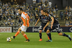 November 11, 2017 - Melbourne, Victoria, Australia - NICK D'AGOSTINO (26) of Brisbane kicks the ball in the round six match of the A-League between Melbourne Victory and Brisbane Roar at Etihad Stadium, Melbourne, Australia. Melbourne drew 1-1 (Credit Image: © Sydney Low via ZUMA Wire)