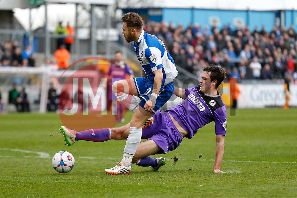 Matt Taylor of Bristol Rovers is tackled by Ben Heneghan of Chester - Photo mandatory by-line: Rogan Thomson/JMP - 07966 386802 - 03/04/2015 - SPORT - FOOTBALL - Bristol, England - Memorial Stadium - Bristol Rovers v Chester - Vanarama Conference Premier.
