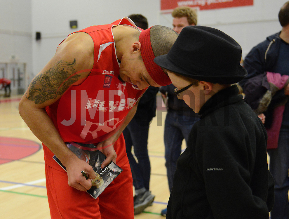 Bristol Flyers' Greg Streete signs autographs - Photo mandatory by-line: Dougie Allward/JMP - Mobile: 07966 386802 - 13/02/2015 - SPORT - Basketball - Bristol - SGS Wise Campus - Bristol Flyers v Surrey United - British Basketball League
