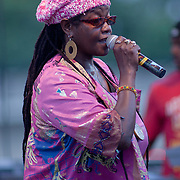 Reggae artist Sister Carol performs live on stage at The Bob Marley 18th Annual People's Festival Saturday, July 28, 2012, at Tubman-Garrett Riverfront Park in Wilmington Delaware.