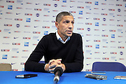 Brighton Manager Chris Hughton speaks at the press conference after the abandoned  EFL Sky Bet Championship match between Brighton and Hove Albion and Cardiff City at the American Express Community Stadium, Brighton and Hove, England on 30 December 2016.