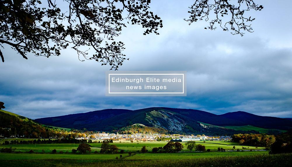 The Scottish Boders village of Innerleithen caught in a spotlight of autumn sunshine<br /> <br /> (c) Andrew Wilson | Edinburgh Elite media