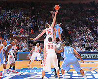 North Carolina forward Ed Davis #32 jumps center against Ohio State center Kyle Madsen #15 during the 2K Sports Classic at Madison Square Garden. (Mandatory Credit: Delane B. Rouse/Delane Rouse Photography)