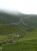 1000's of Pilgrims on the ascent of Croagh Patrick in County Mayo  for the annual Reek Sunday. PHoto:Andrew Downse