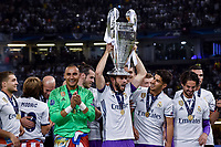 Real Madrid players liftt the Champions League Trophy during the UEFA Champions League Final match between Real Madrid and Juventus at the National Stadium of Wales, Cardiff, Wales on 3 June 2017. Photo by Giuseppe Maffia.<br /> <br /> Giuseppe Maffia/UK Sports Pics Ltd/Alterphotos