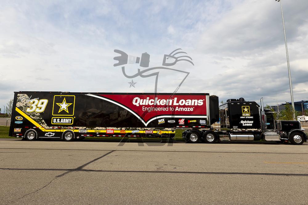 KANSAS CITY, KS - APR 19, 2012:  The US Army hauler waits to park  for the STP 400 at the Kansas Speedway in Kansas City, KS.