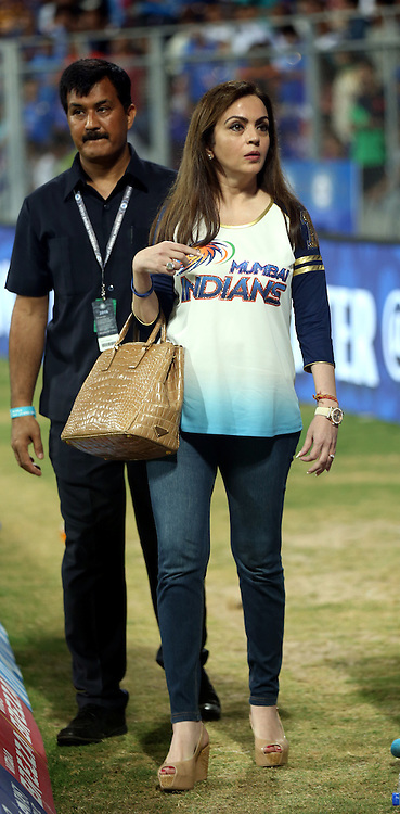 Nita Ambani owner of Mumbai Indians  during match 14 of the Vivo Indian Premier League ( IPL ) 2016 between the Mumbai Indians and the Royal Challengers Bangalore held at the Wankhede Stadium in Mumbai on the 20th April 2016<br /> <br /> Photo by Sandeep Shetty / IPL/ SPORTZPICS