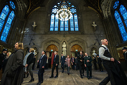 © Licensed to London News Pictures. 05/01/2018. Manchester, UK. A police honour guard lines the entrance to the Great Hall as guests arrive . Police officers and railway workers who came to the aid of victims in the wake of the terrorist attack at an Arina Grande concert at the Manchester Arena in May 2017 are honoured at a commendation ceremony at the Great Hall at Manchester Town Hall. Amongst those honoured are officers from British Transport Police and Northern Rail staff . Photo credit: Joel Goodman/LNP