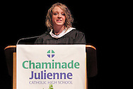 2003 CJ graduate Sarah Budd, now a third-grade teacher in Indianapolis, delivers the commencement address during the Chaminade Julienne High School Class of 2012 commencement exercises at the Schuster Center in downtown Dayton, Monday, May 21, 2012.