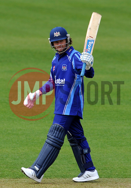 Gloucestershire's Hamish Marshall celebrates his century - Photo mandatory by-line: Harry Trump/JMP - Mobile: 07966 386802 - 30/03/15 - SPORT - CRICKET - Pre Season Fixture - T20 - Somerset v Gloucestershire - The County Ground, Somerset, England.
